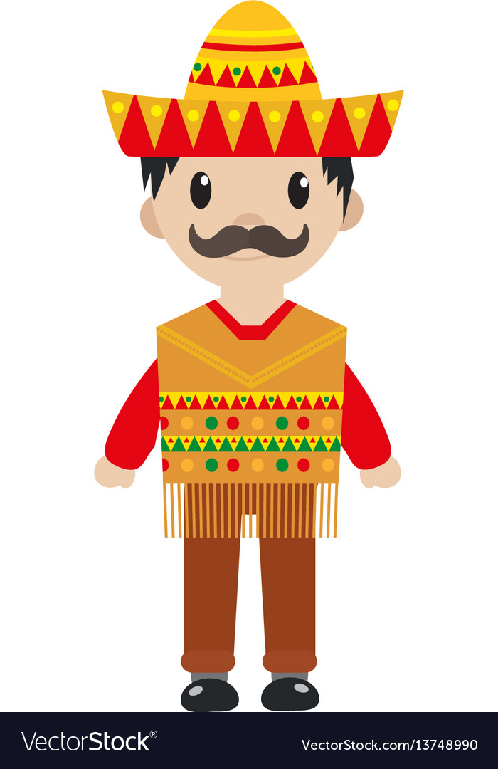 Mexican in a traditional suite icon flat cartoon