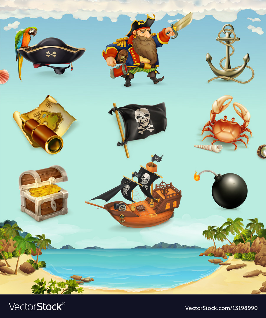 Sea pirates funny character and objects icon set