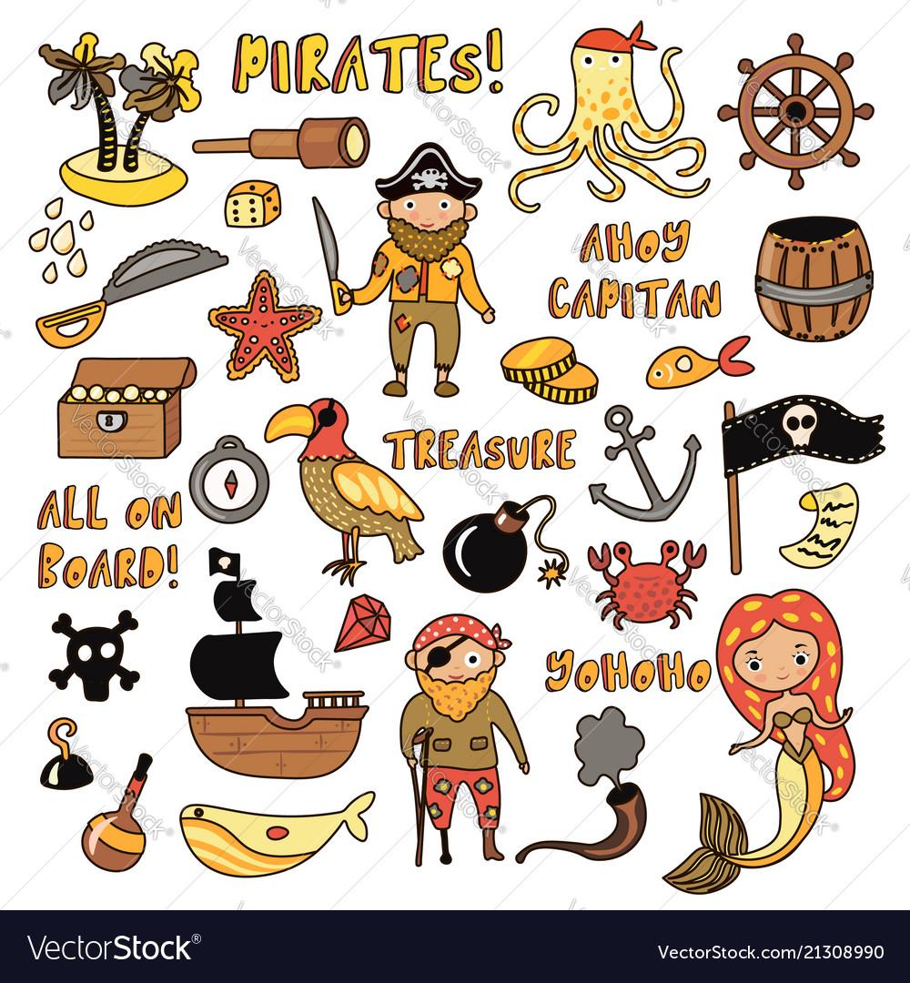 Set of pirates cartoon objects adventures