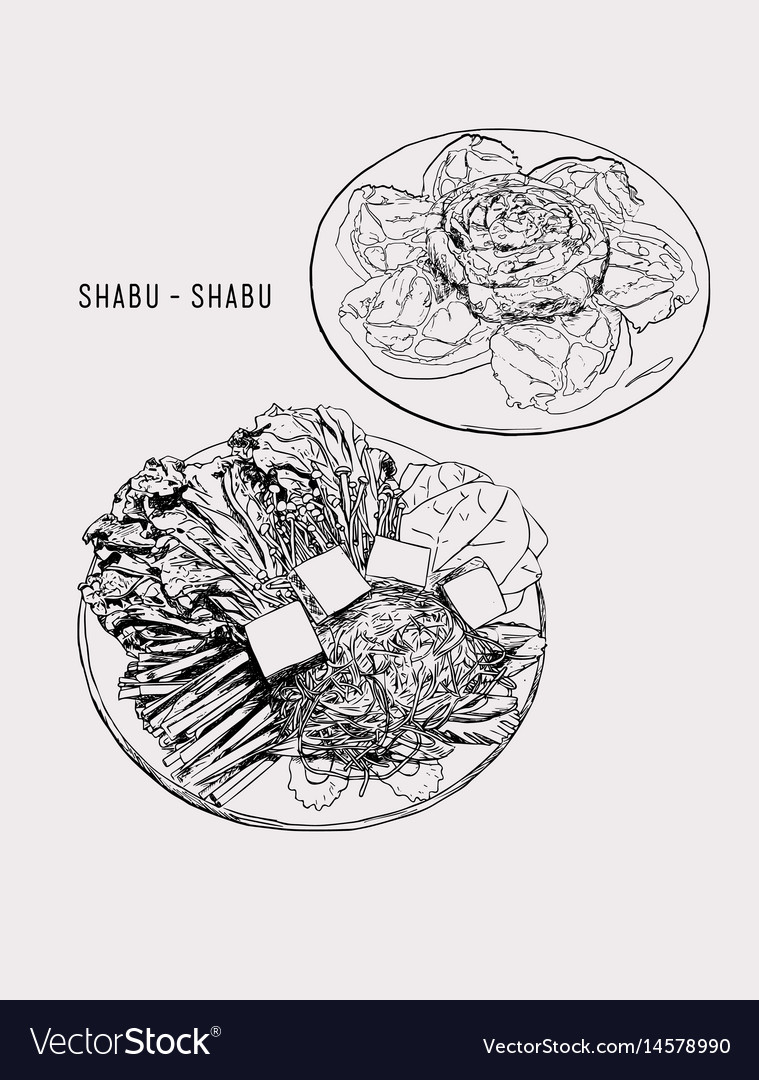Shabu set objects drawing graphic design vector image