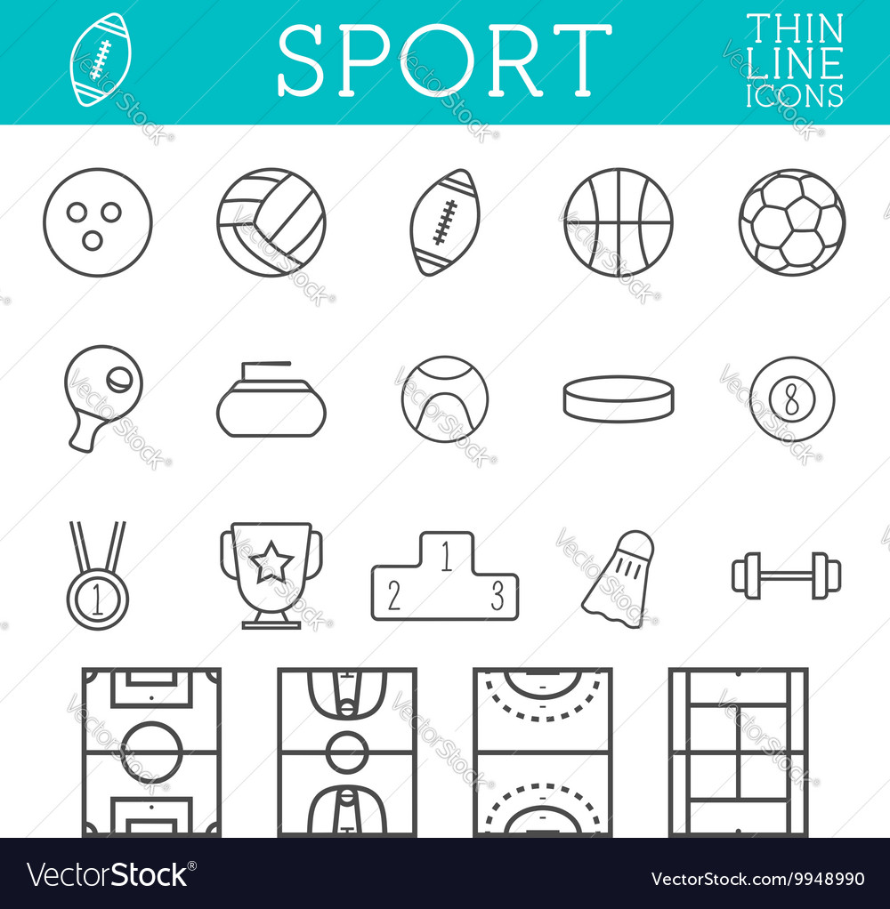 Sport outline icons trendy thin line design