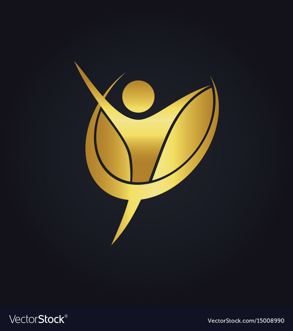 Success people happy fitness gold logo