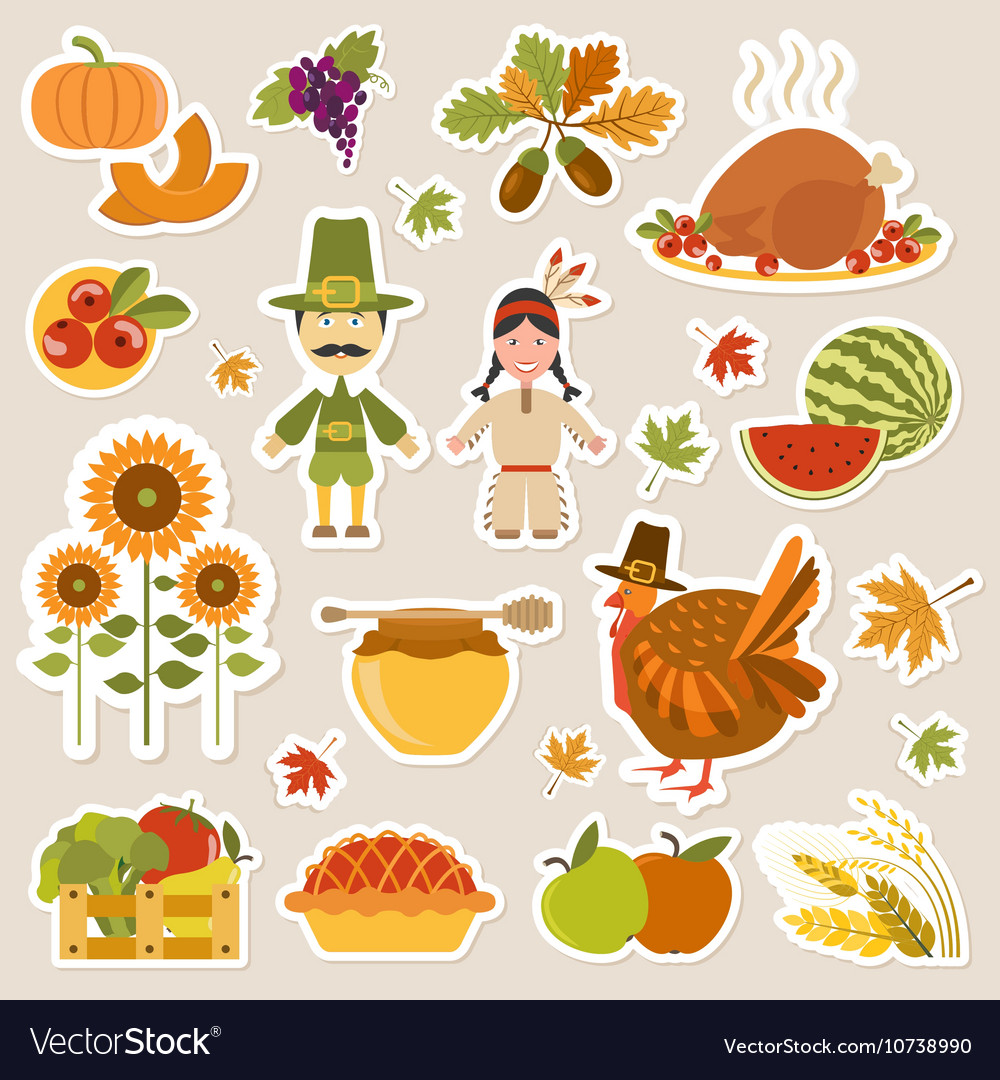 Thanksgiving day icon set Flat style