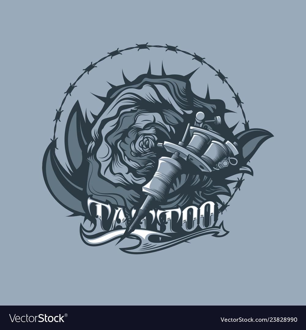 Thorns rose and tattoo machine monochrome tattoo