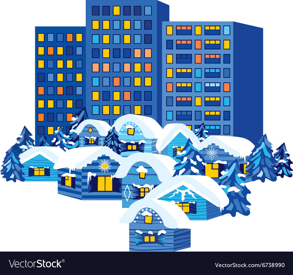 Winter City and Village Houses