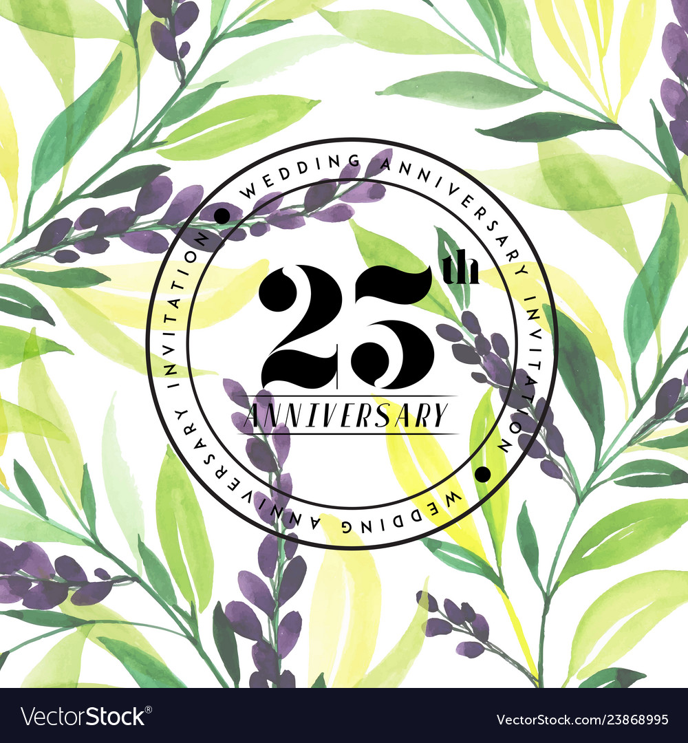 25 wedding anniversay invitation watercolor