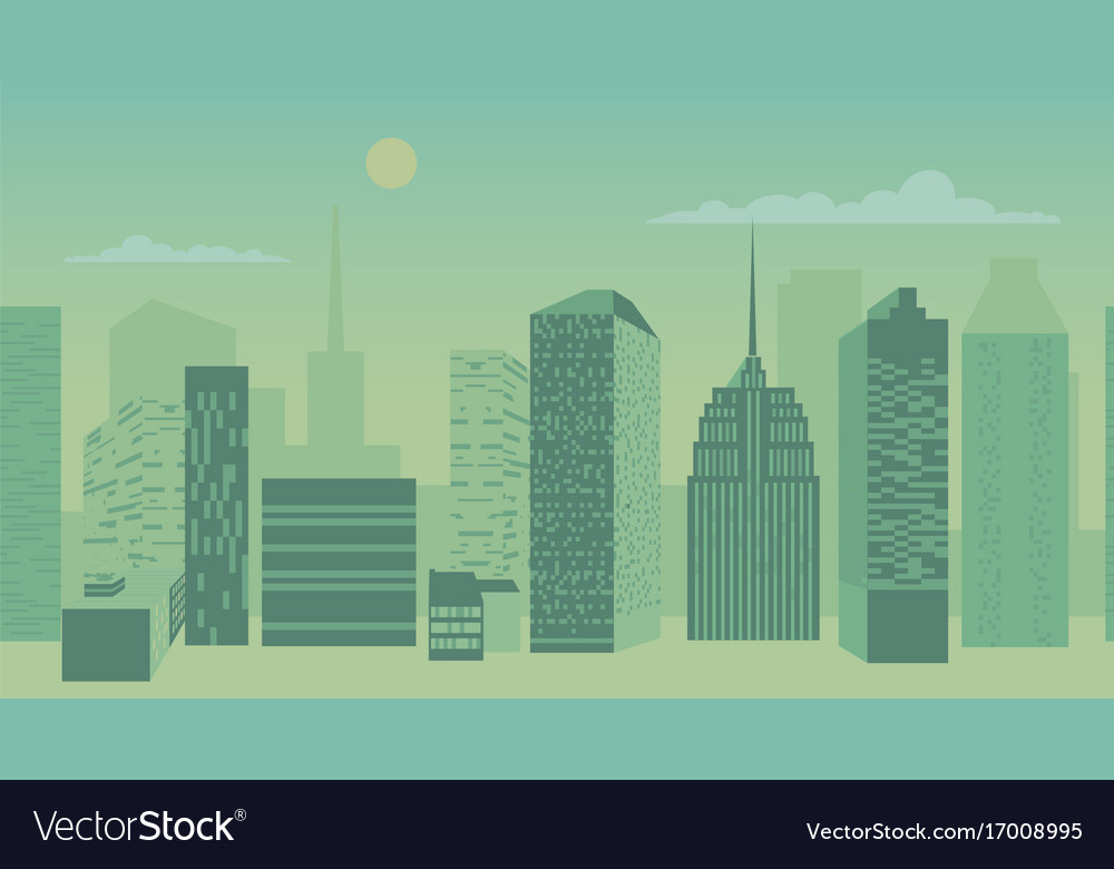 Blue city scape with silhouette of tall