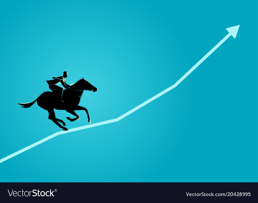 Businessman on horseback running on graphic chart