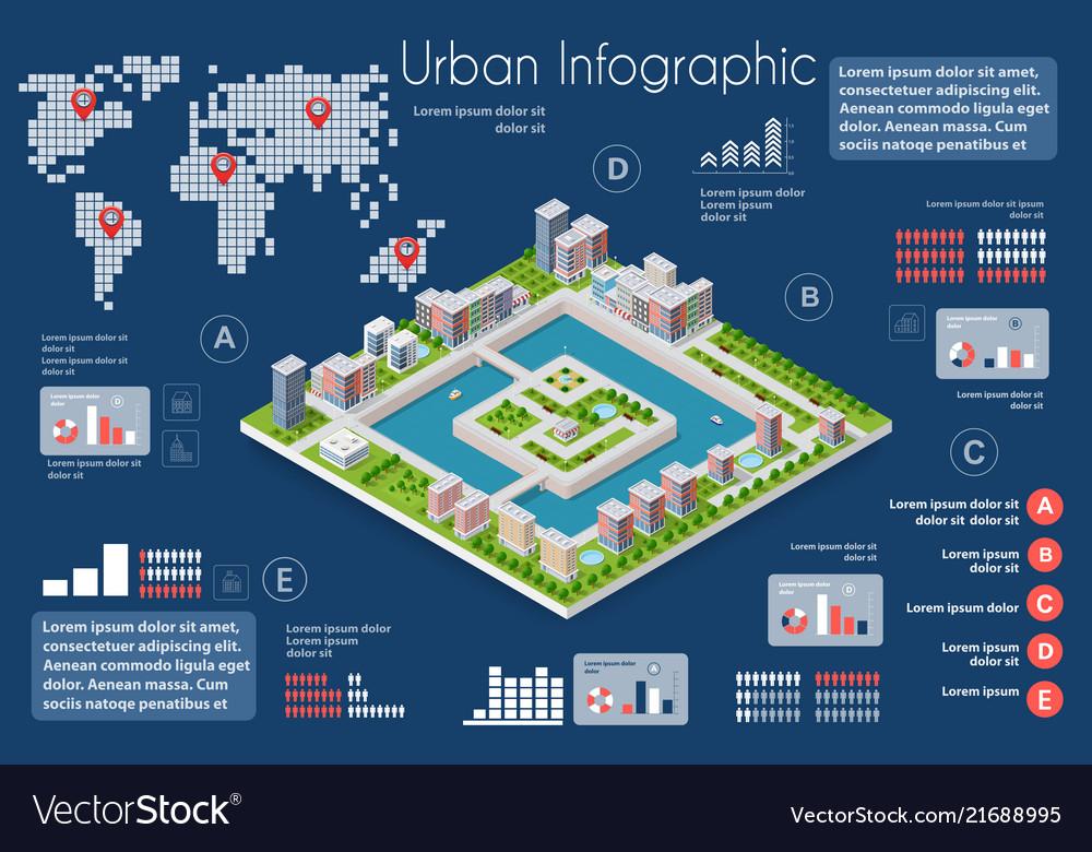 City infographics of the town with houses