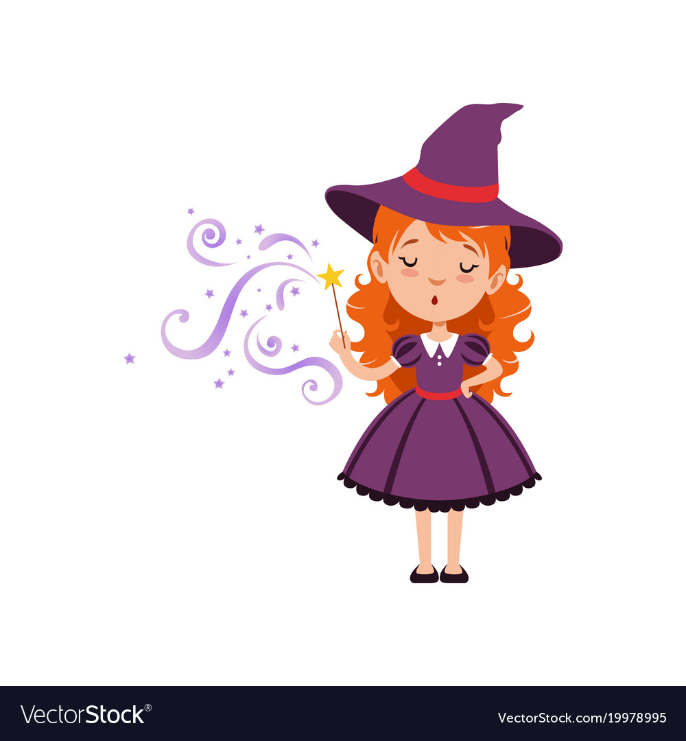 Cute small witch casts a spell with the magic wand