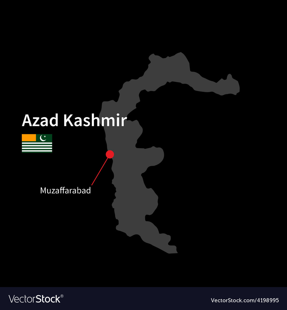 Detailed map of Azad Kashmir and capital city vector image