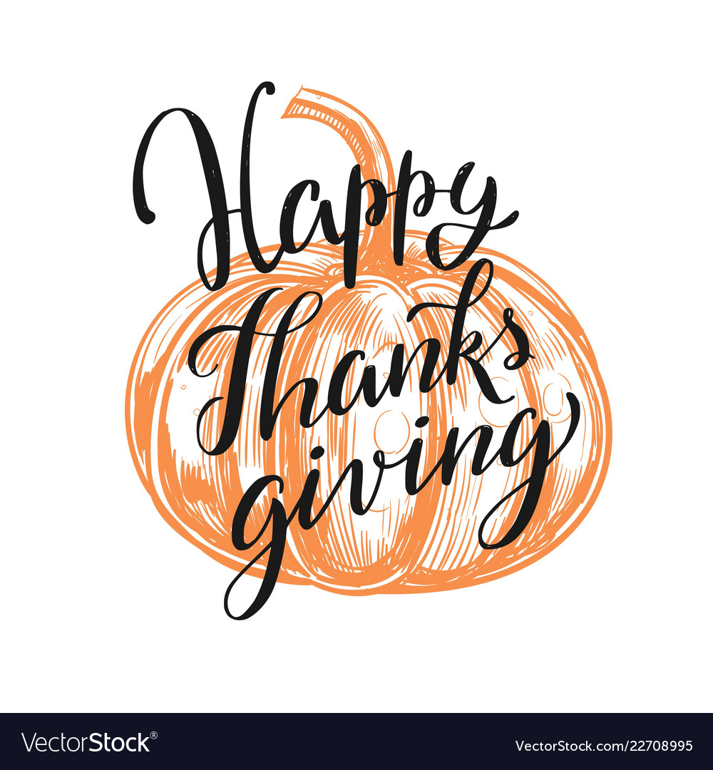 Happy thanksgiving day lettering concept