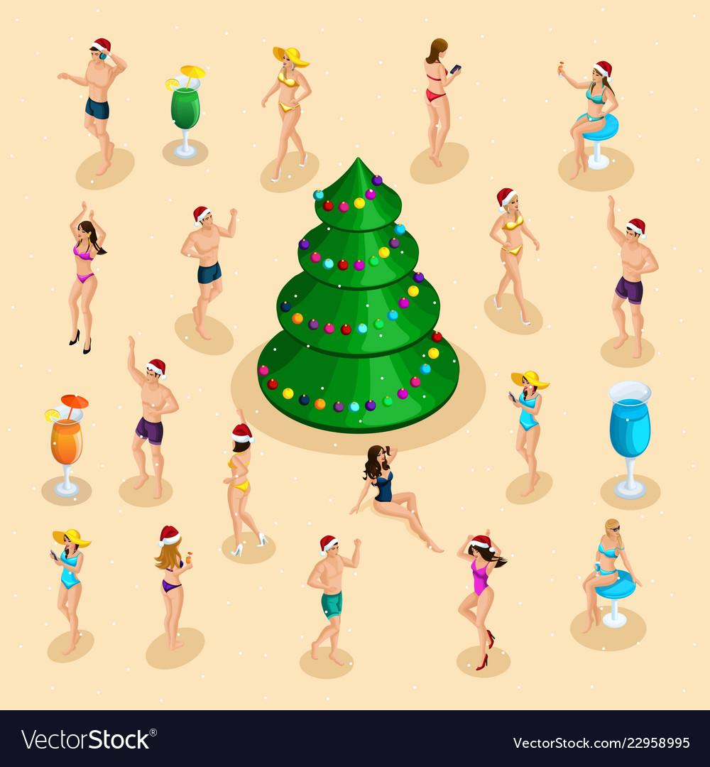 Isometric celebration men and women in bathing