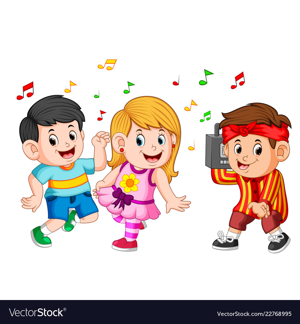 Kids Dancing Of Hip Hop And A Boy Holds A Vintage Vector Image