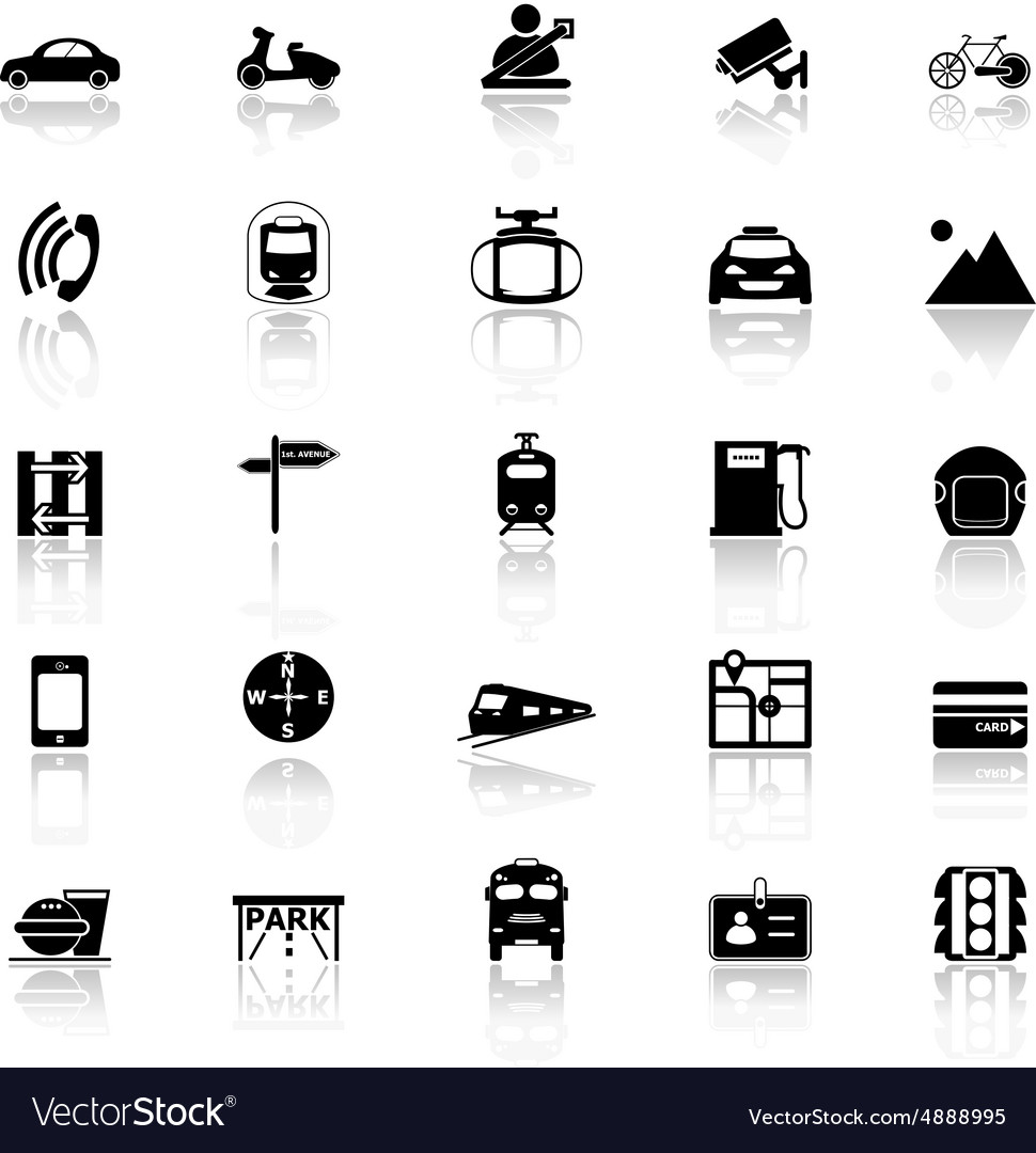 Land transport related with reflect icons on white vector image