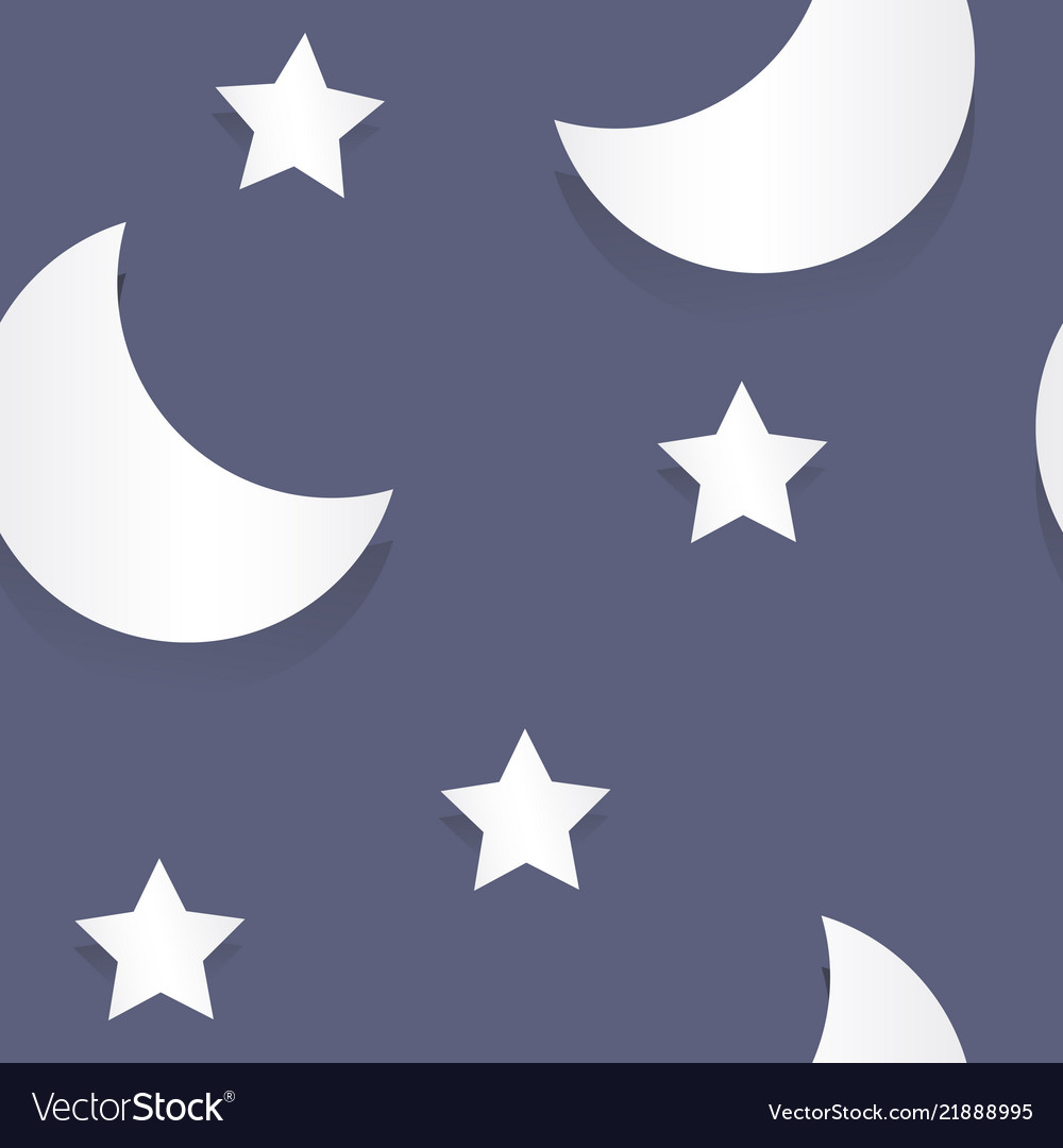 Moon and stars paper seamless pattern