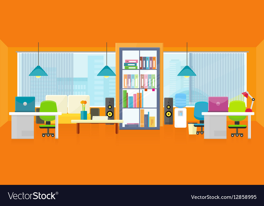 Office Interior Background In Flat Royalty Free Vector Image
