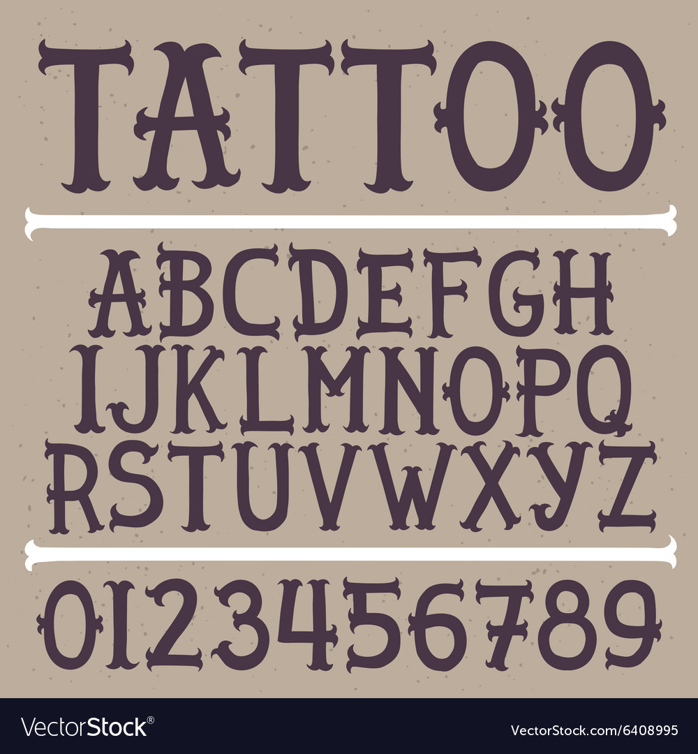 Old school hand drawn tattoo font vector image