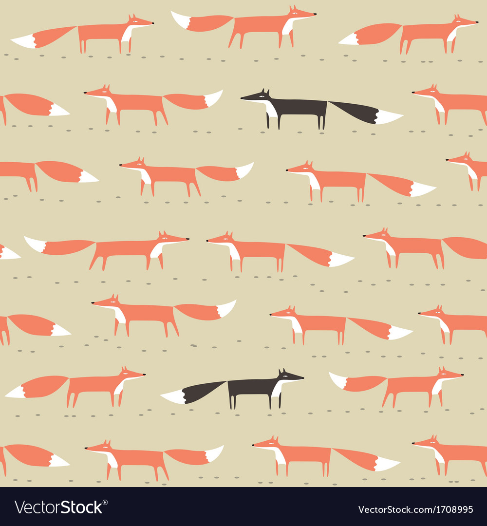 Red and black fox seamless pattern