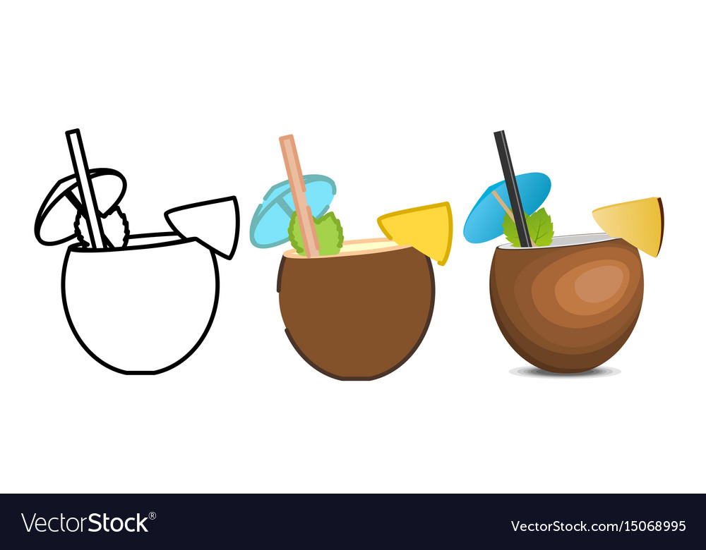 Set of pina colada icons