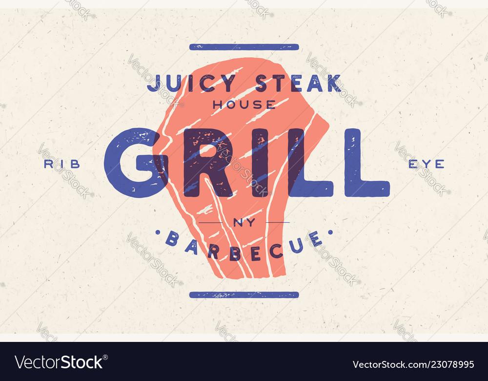 Steak logo meat label logo with steak