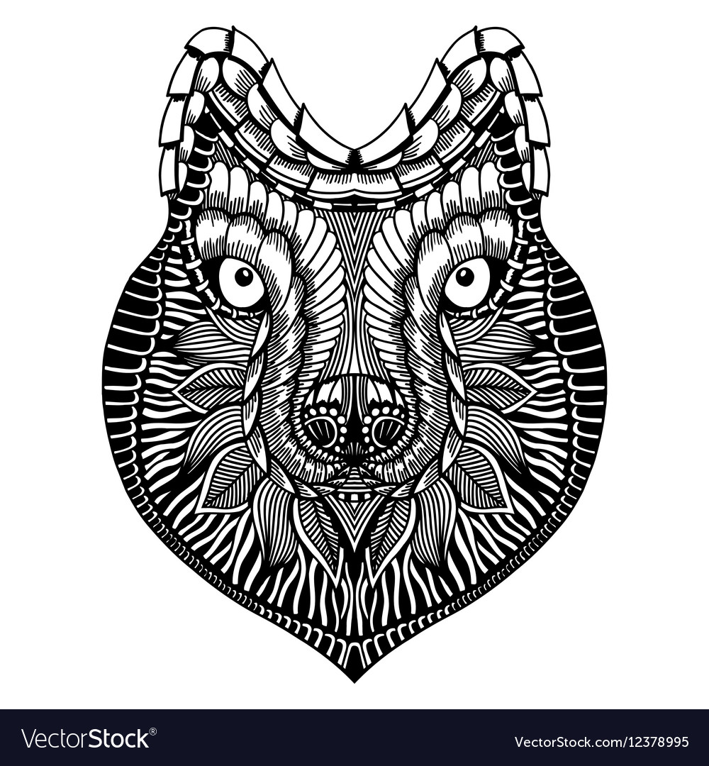 Zentangle stylized Wolf face vector image
