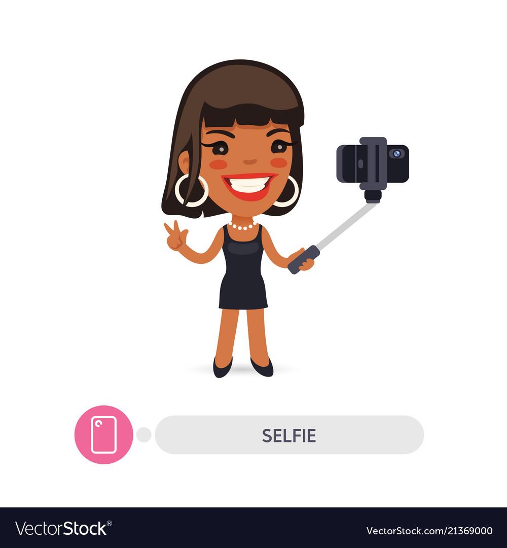 African american cartoon selfie girl with