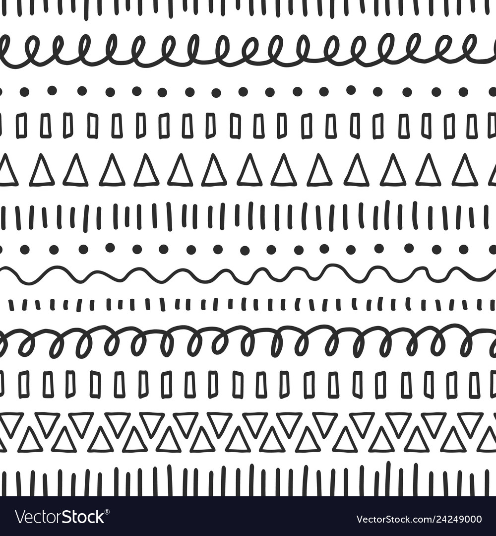 Black doodles seamless pattern ethnic and