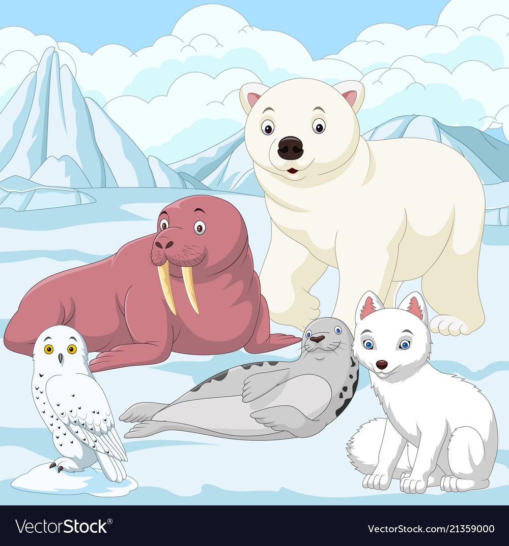 Cartoon arctic animals with ice field background