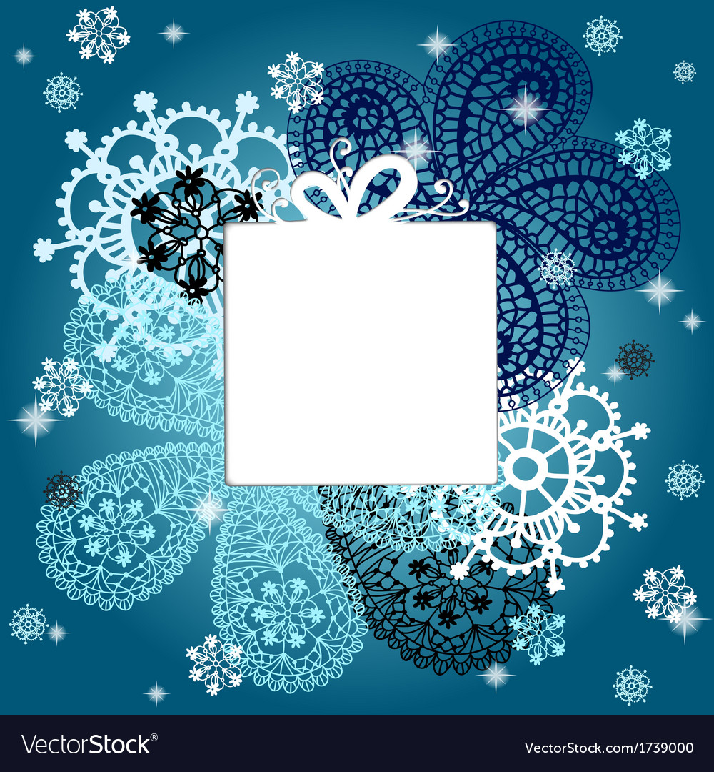Christmas and New Year card with snowflakes