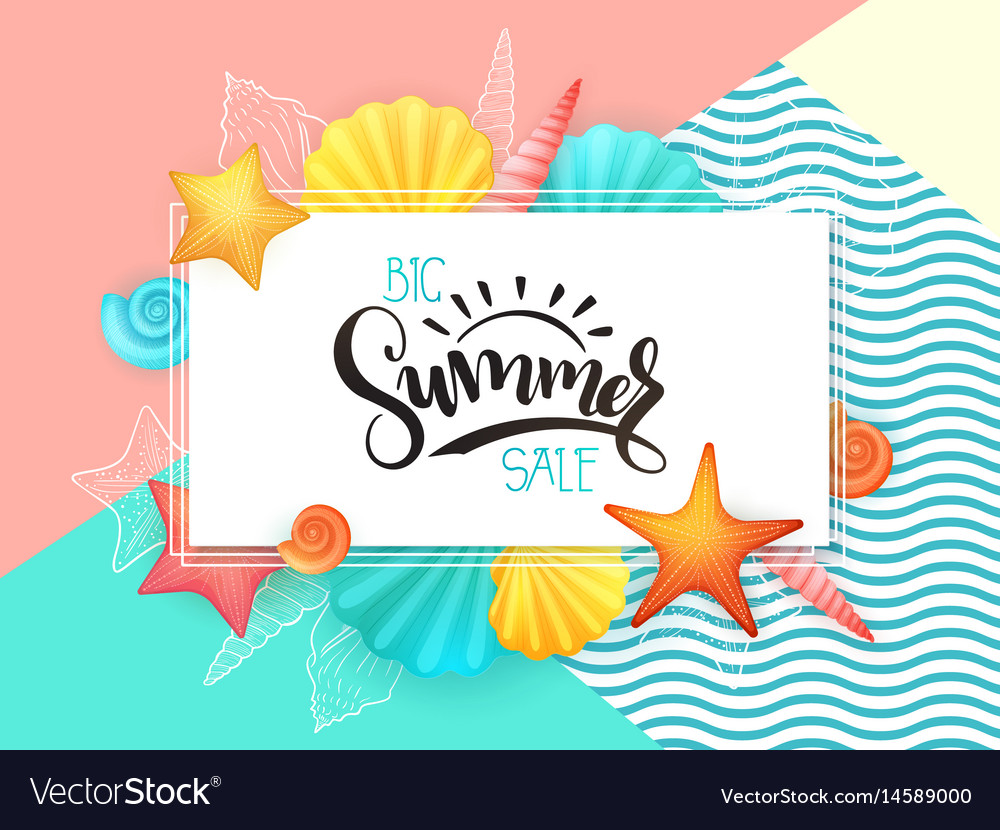 Hand lettering summer sale text surrounded