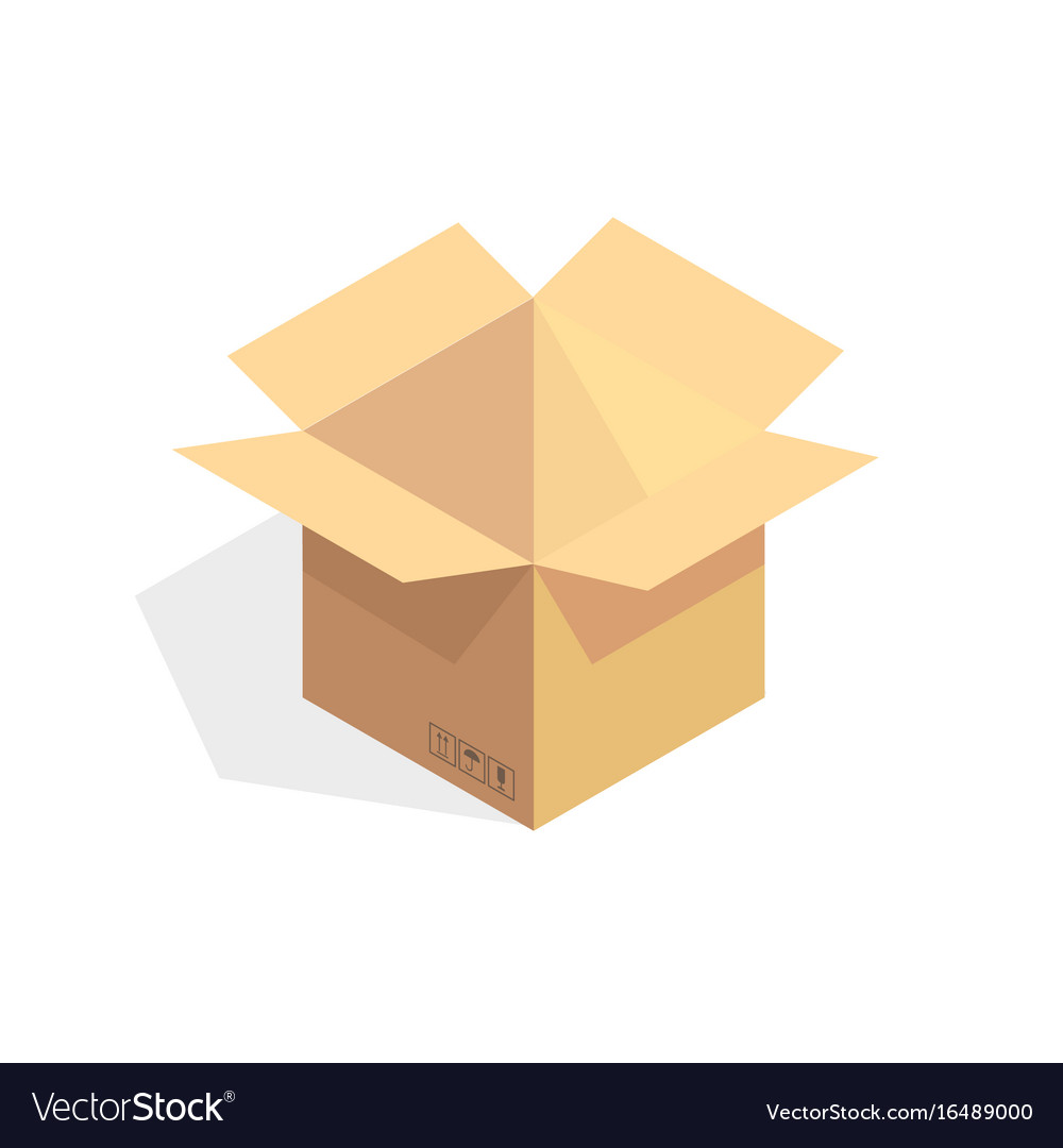Isometric cardboard icon cartoon package box