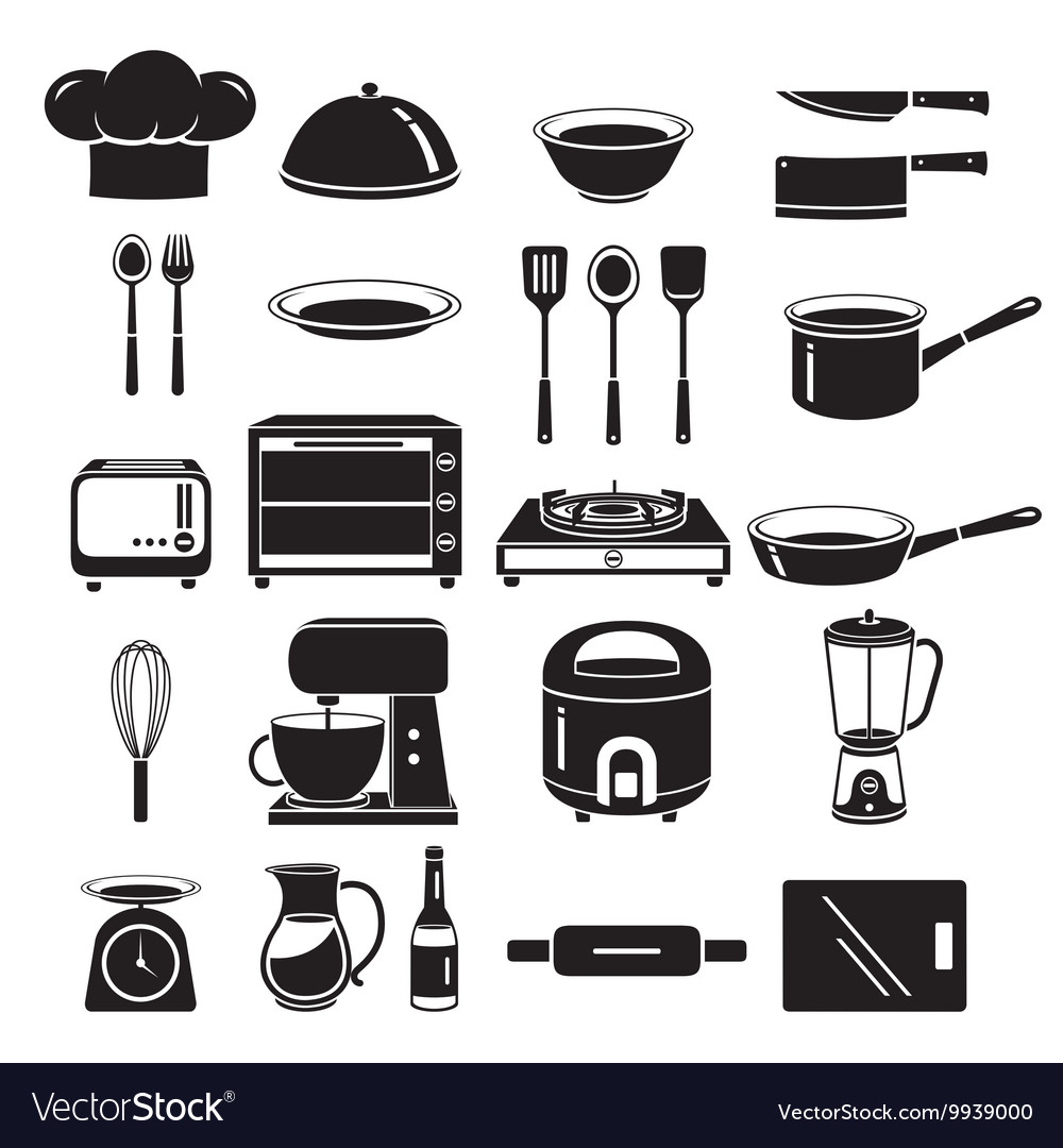 Kitchen Equipment Icons Set Monochrome vector image
