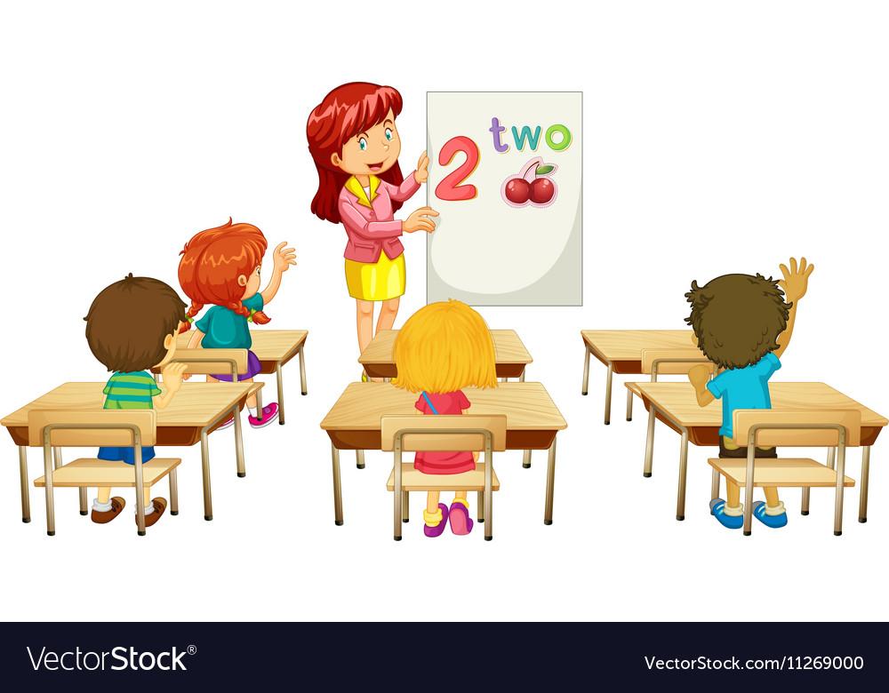 Math teacher teaching children in class Royalty Free Vector