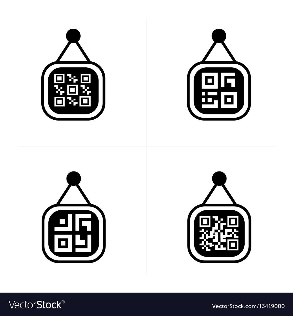 Qr code on price label icon vector image