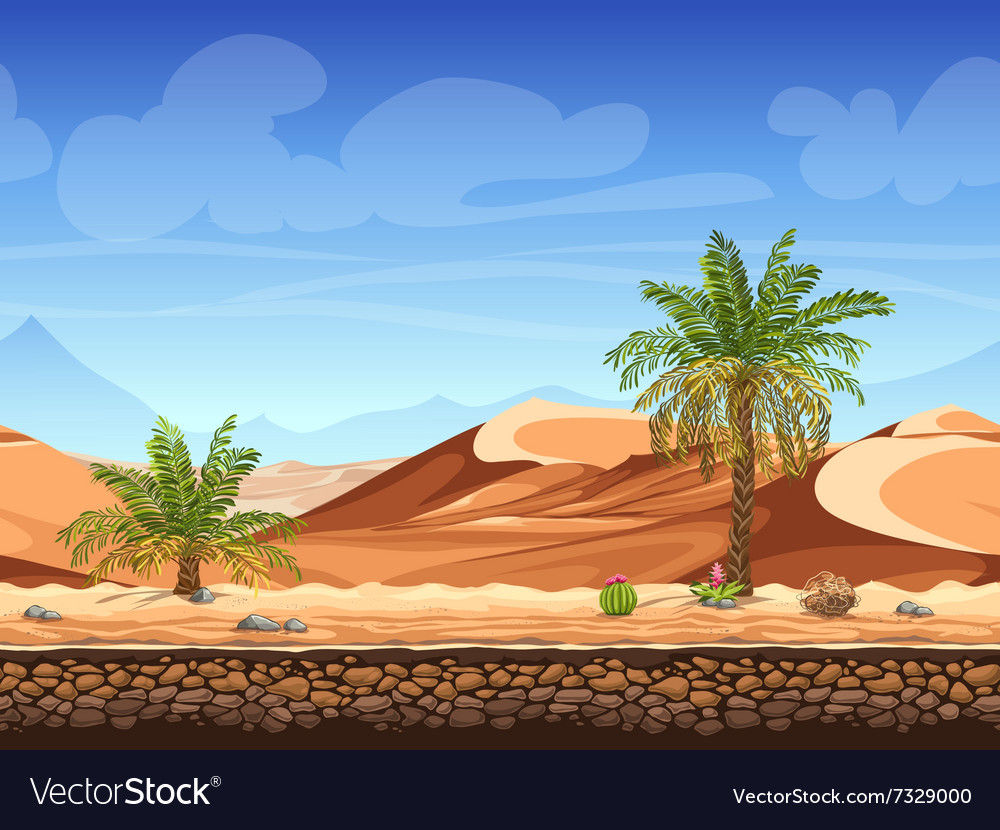 Seamless background - palm trees in desert