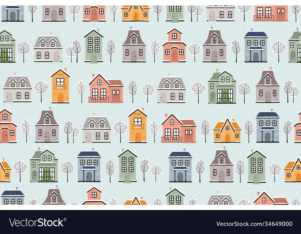 Seamless pattern with winter houses and