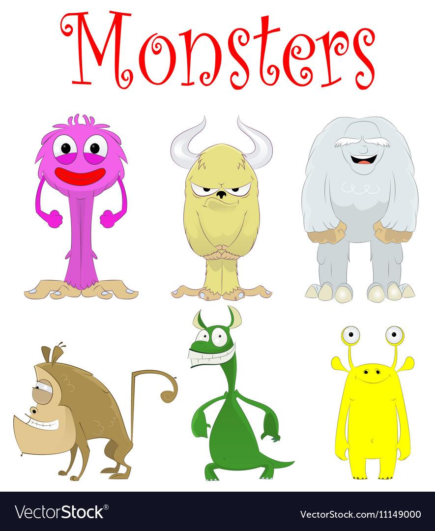 Set of fun cartoon monster creations