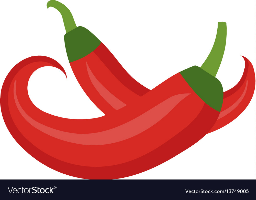 Chili icon flat cartoon style red pepper is