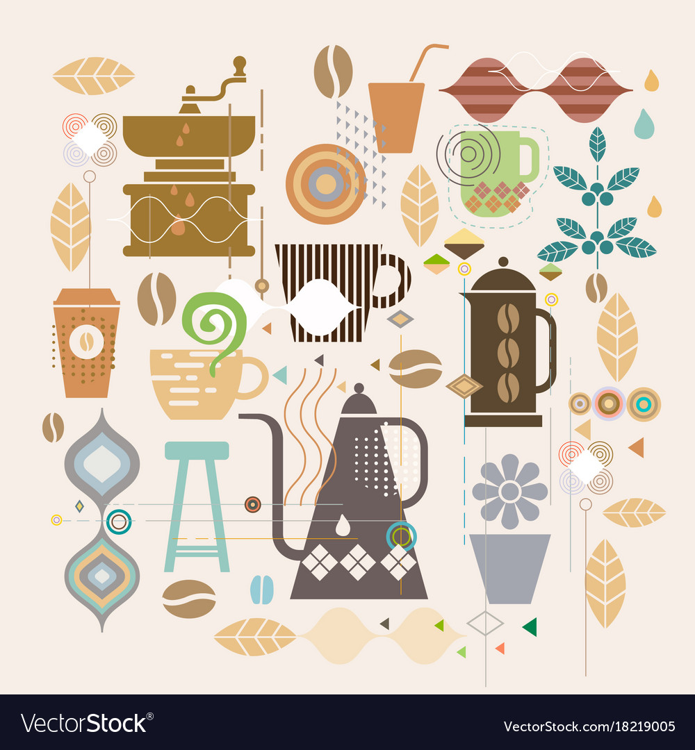 Coffee concept with mix graphic and variety