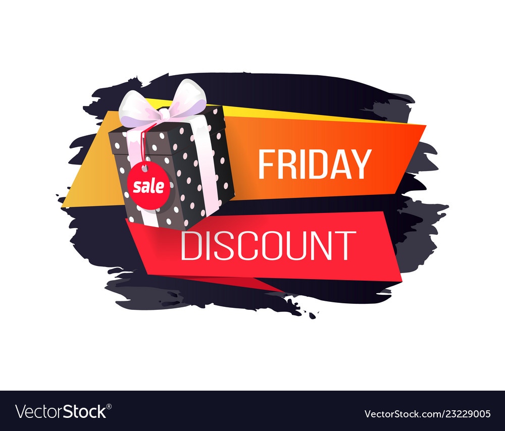 Friday discount price tag dotted gift box isolated
