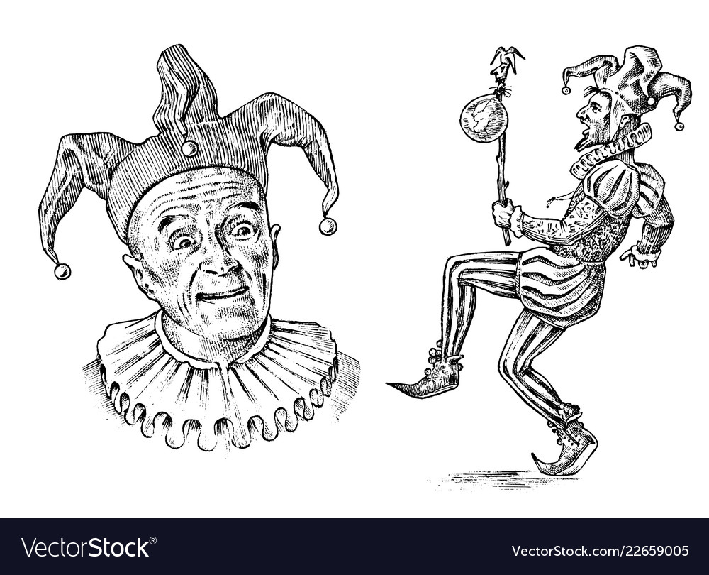 Funny jester in fool s cap clown in costume