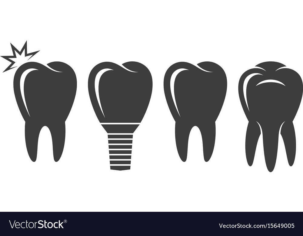 Human tooth icon set vector image