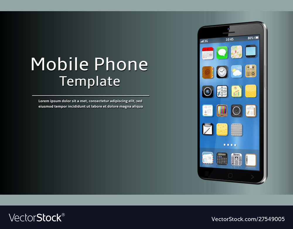 Mobile phone template smart phone with app icons