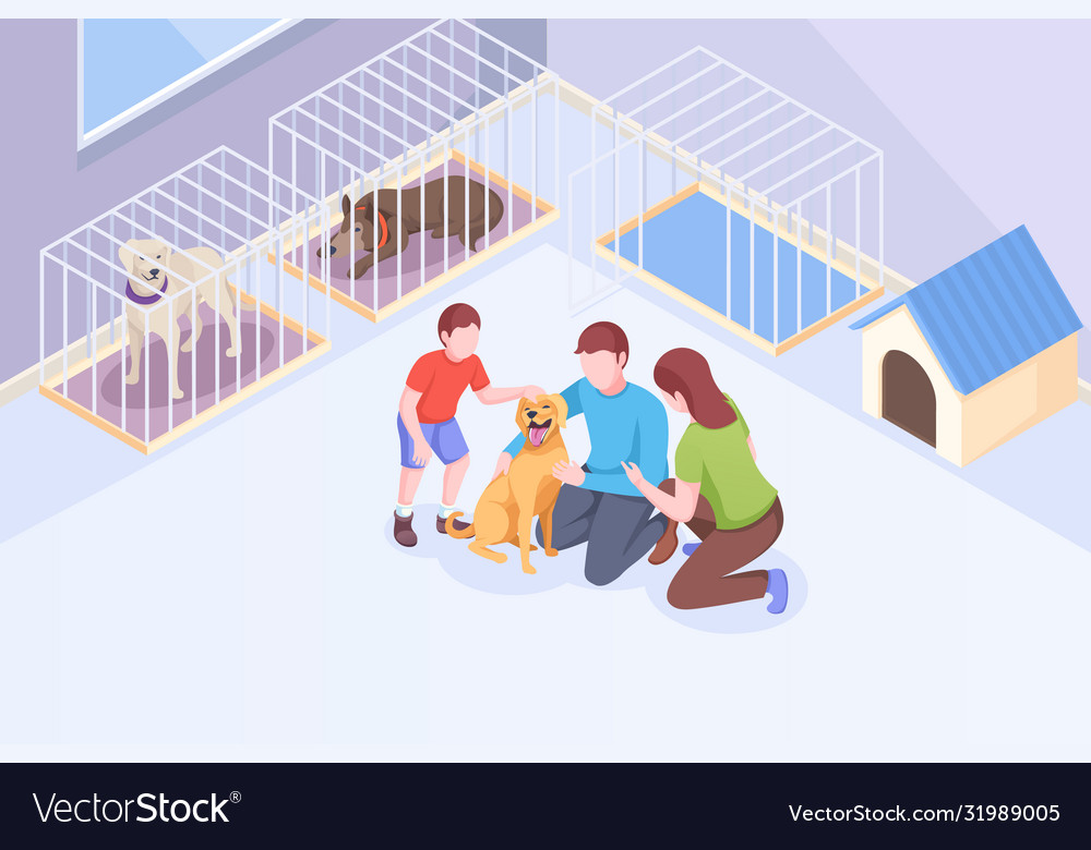 Pet adopt family plays with dog at animal shelter