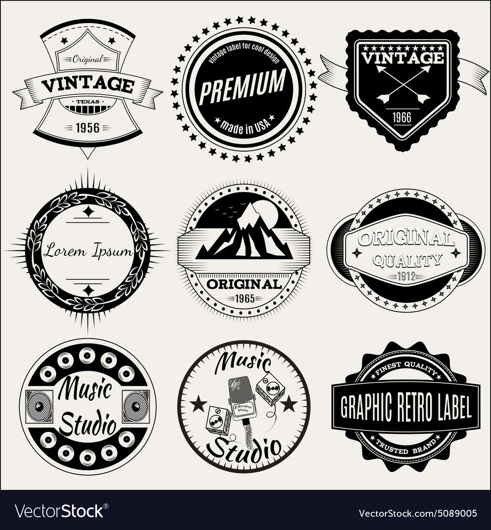 Set of retro labels for design vector image