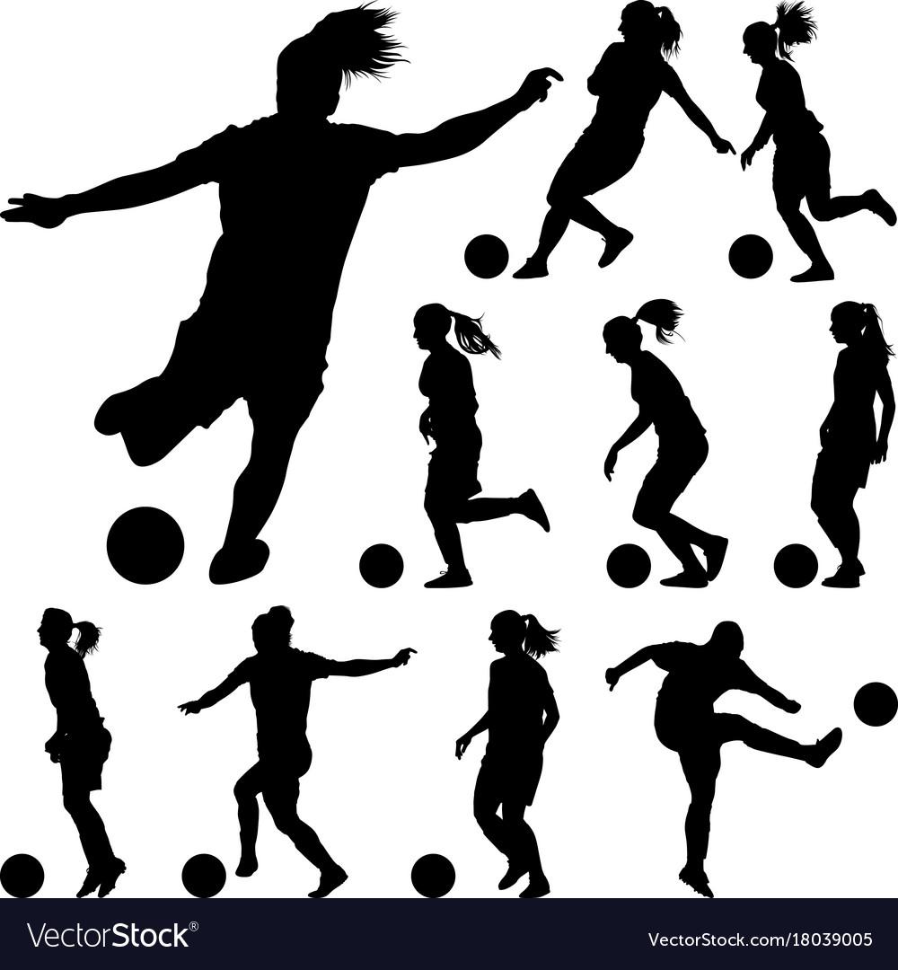 Soccer women silhouette girl player