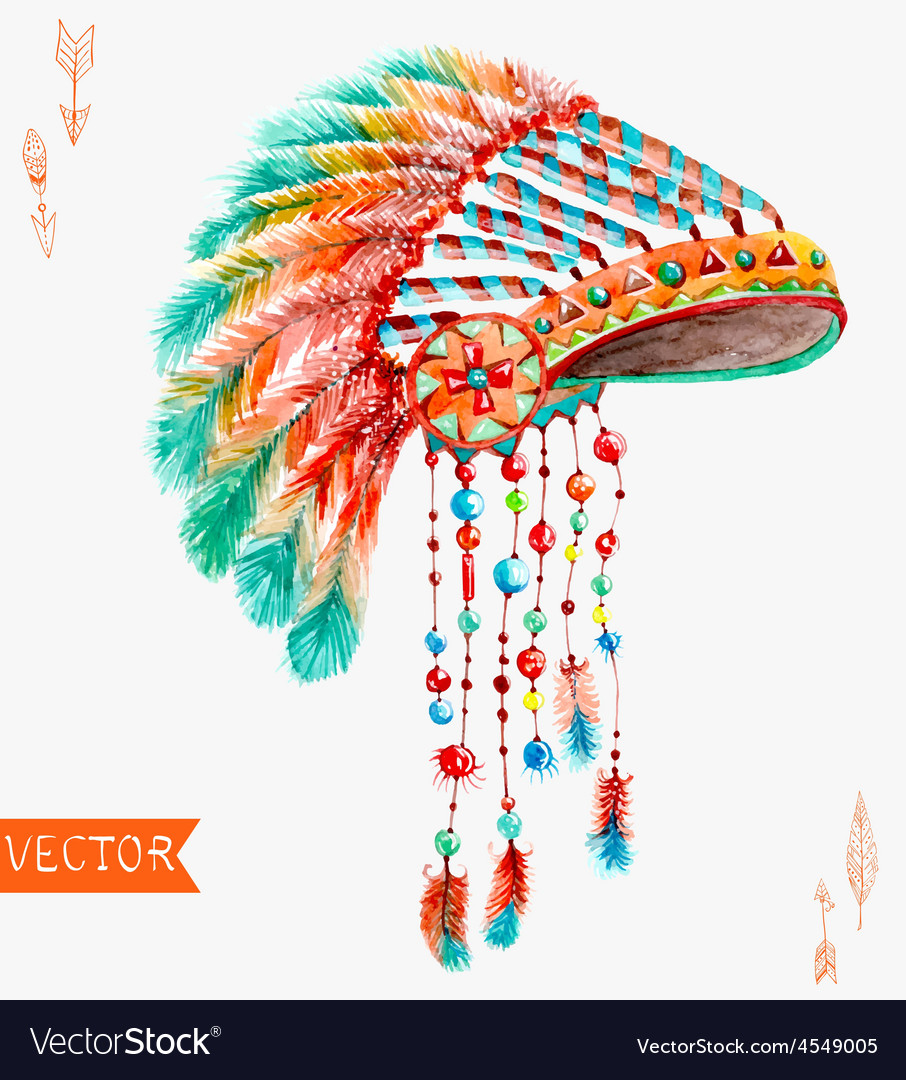 Tribal indian hat watercolor background