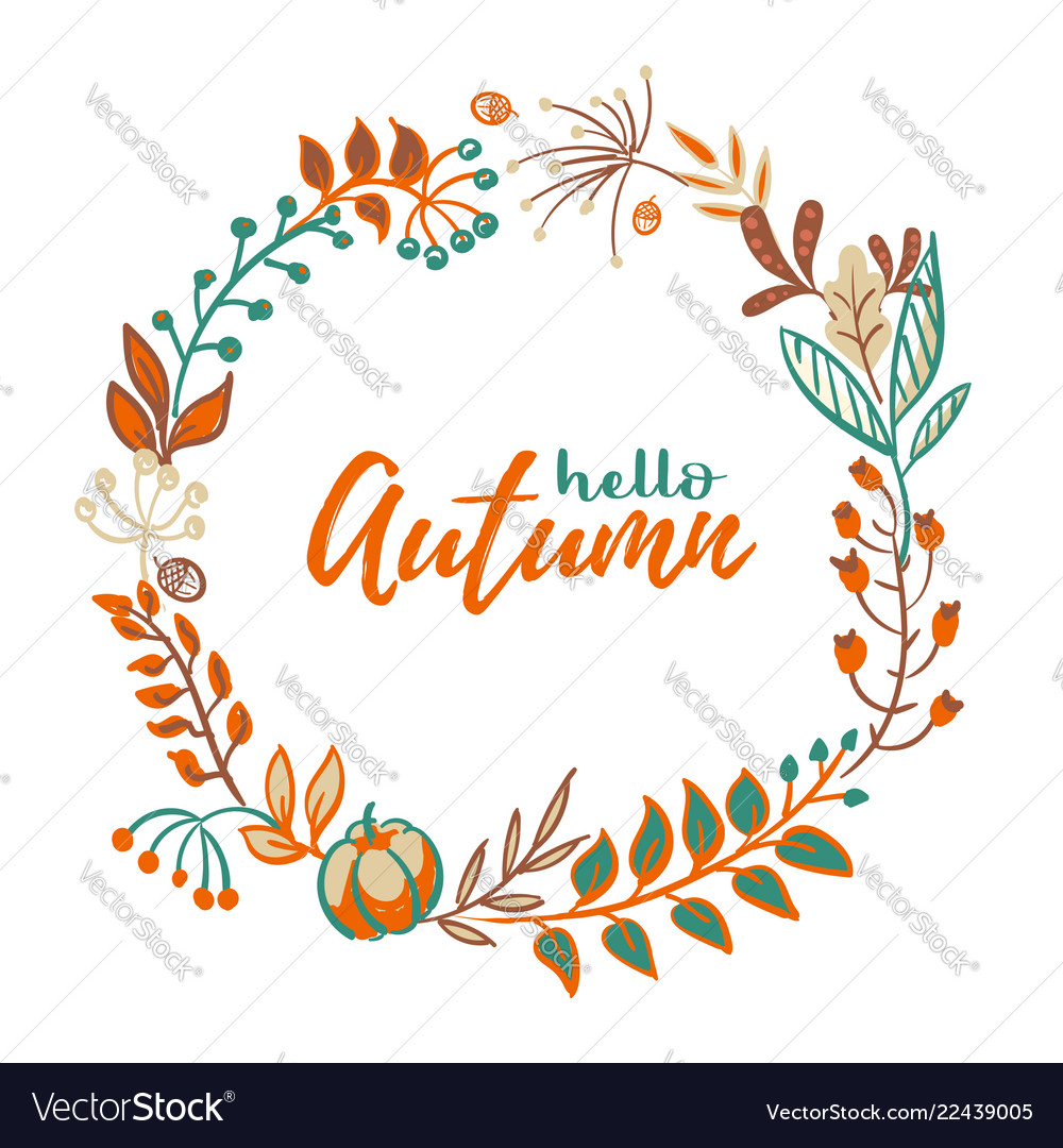 Wreath autumn leaves and fruit in doodle