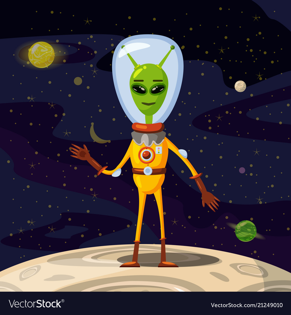 Alien in a spacesuit cartoon style background